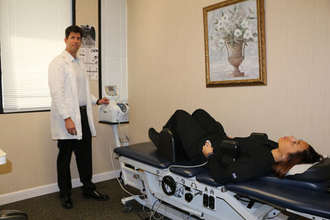 patient laying on decompression table
